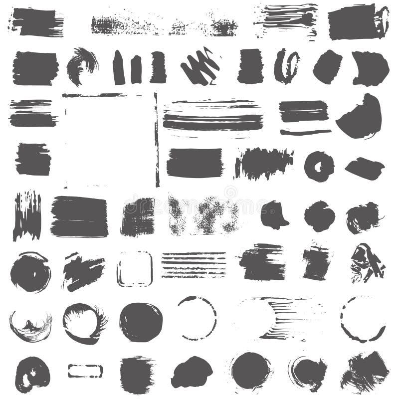 Czerń kleksy na białym tle ilustracja wektor