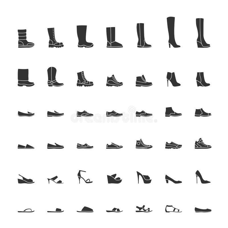 Czerń kuje ikony setu, mężczyzna i kobiet mody buty, również zwrócić corel ilustracji wektora royalty ilustracja