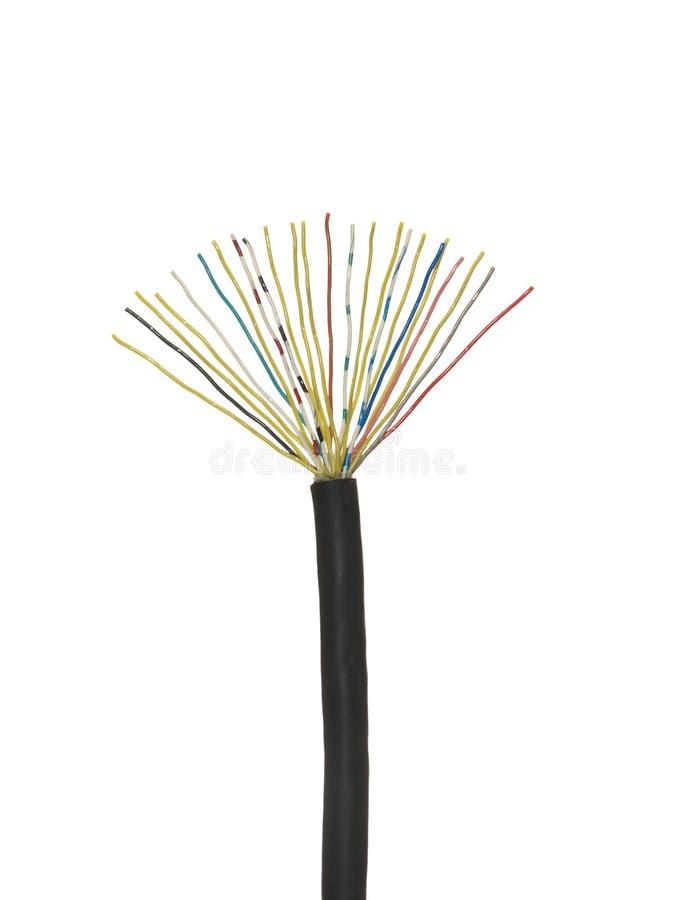 Czerń obdzierał kabel z stubarwnymi elektrycznymi drutami odizolowywającymi zdjęcie royalty free