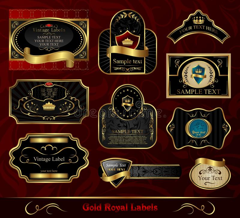 czerń obramiający złocisty etykietki set royalty ilustracja