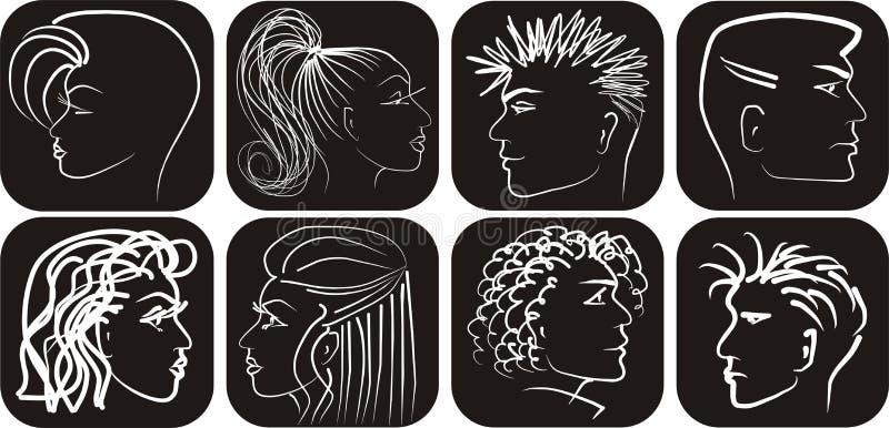 czerń obsługuje profili/lów biel womans ilustracja wektor