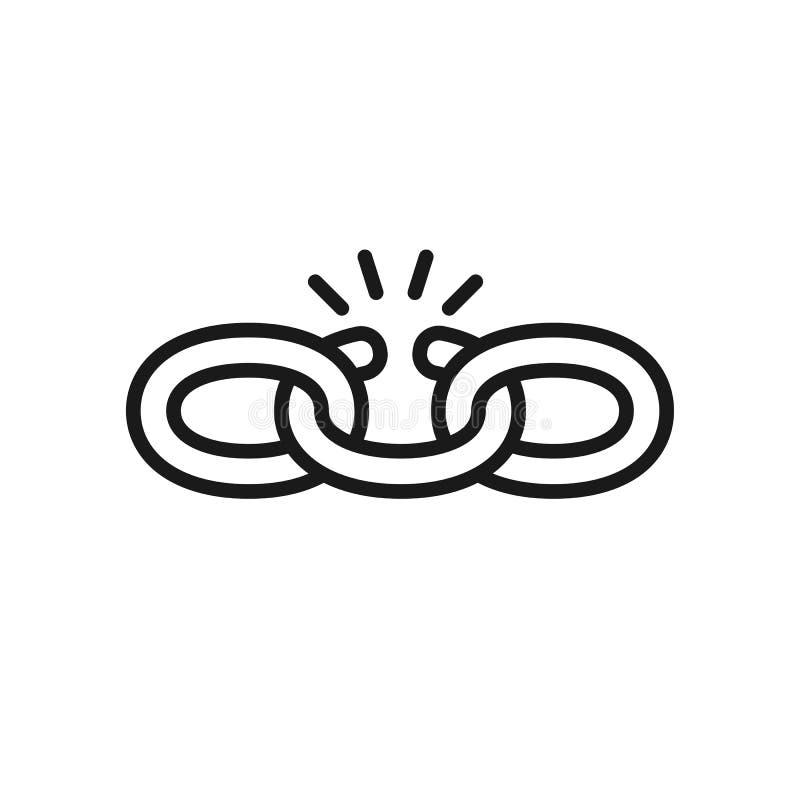 Czerń odizolowywał kontur ikonę łamany łańcuch na białym tle Kreskowa ikona łańcuch słaby link ilustracja wektor