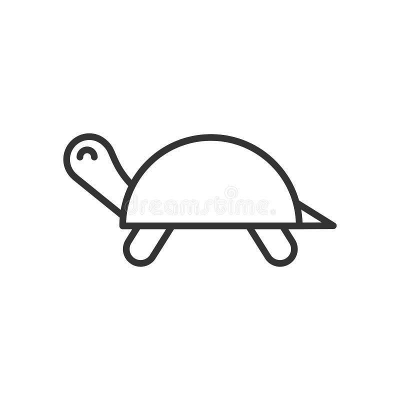 Czerń odizolowywał kontur ikonę żółw na białym tle Kreskowa ikona tortoise ilustracji