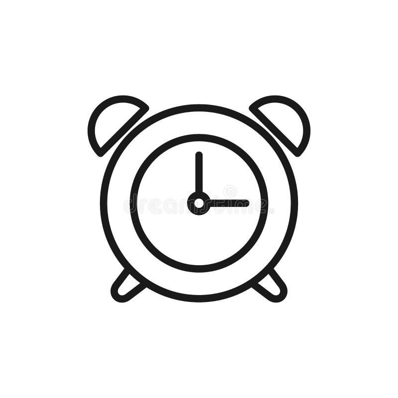 Czerń odizolowywał kontur ikonę budzik na białym tle Kreskowa ikona budzik ilustracji