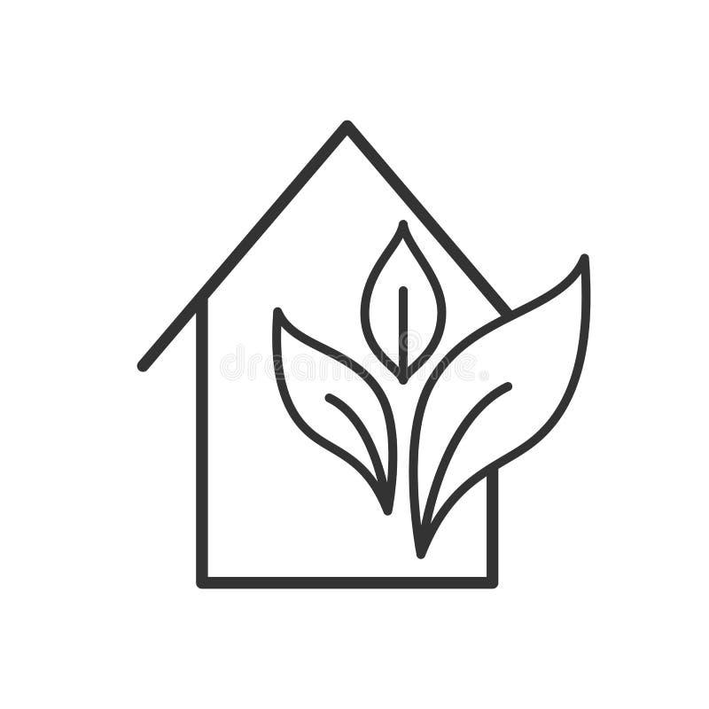 Czerń odizolowywał kontur ikonę eco dom na białym tle Kreskowa ikona ekologiczny dom, ecohouse ilustracji