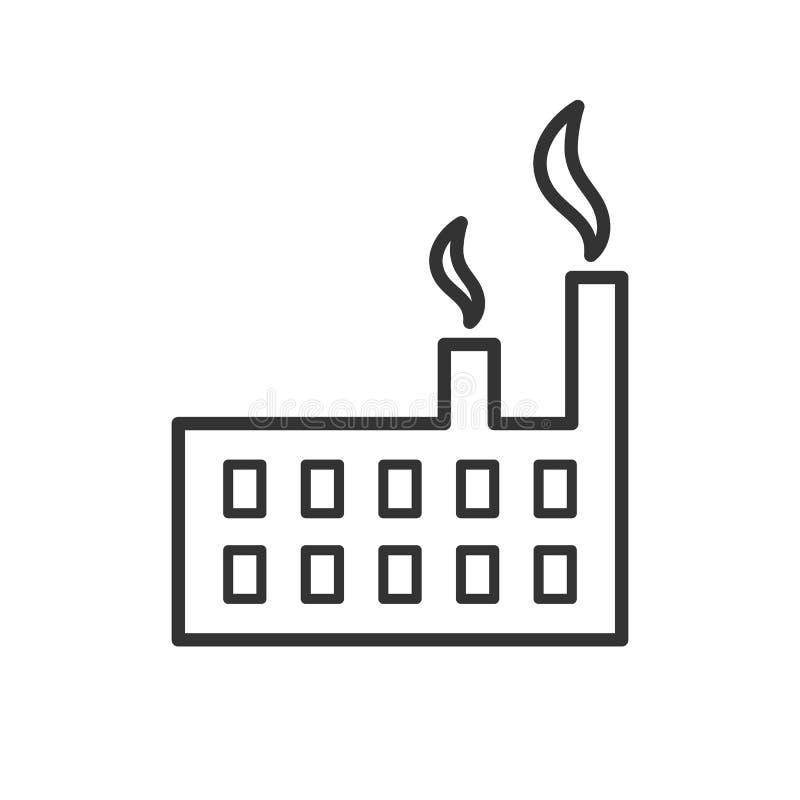 Czerń odizolowywał kontur ikonę fabryka na białym tle Kreskowa ikona fabryka royalty ilustracja