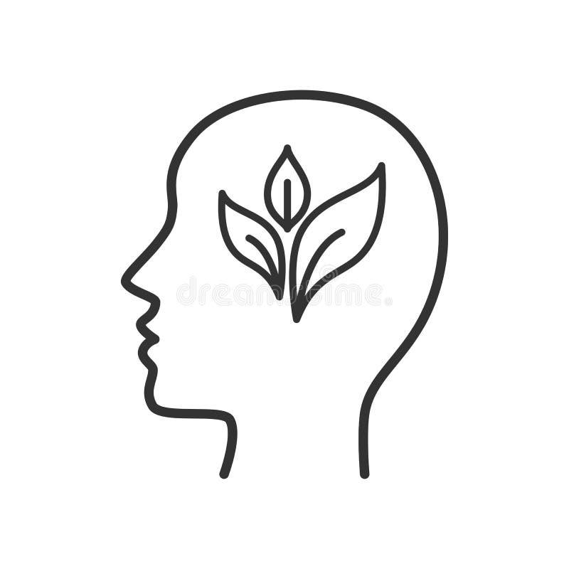 Czerń odizolowywał kontur ikonę głowa mężczyzna z liściem na białym tle Kreskowa ikona głowa mężczyzna Eco myśl royalty ilustracja