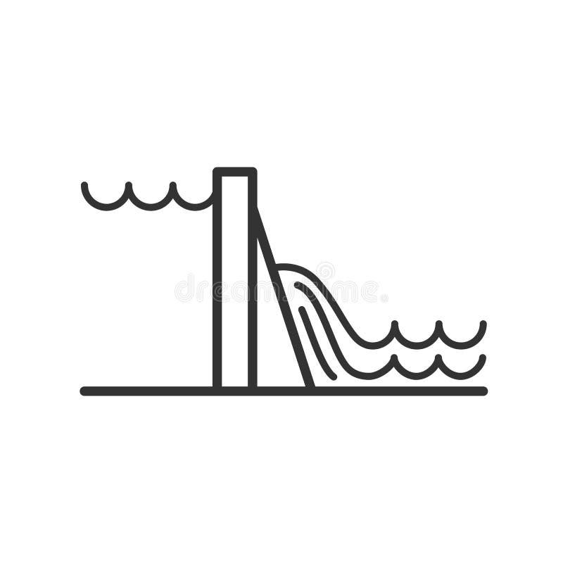 Czerń odizolowywał kontur ikonę hydroelektryczna elektrownia na białym tle Kreskowa ikona hydroelektryczna elektrownia royalty ilustracja