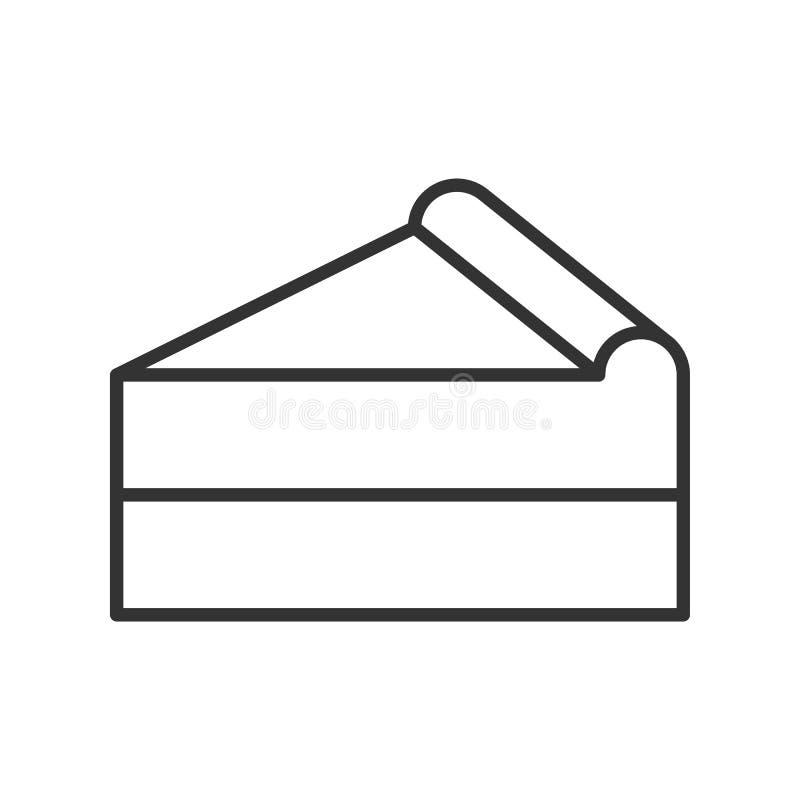 Czerń odizolowywał kontur ikonę kawałek kulebiak na białym tle Kreskowa ikona plasterek tort ilustracja wektor