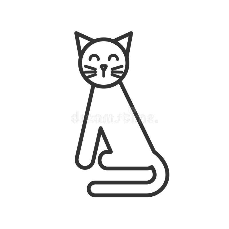 Czerń odizolowywał kontur ikonę kot na białym tle Kreskowa ikona siedzący kot ilustracji