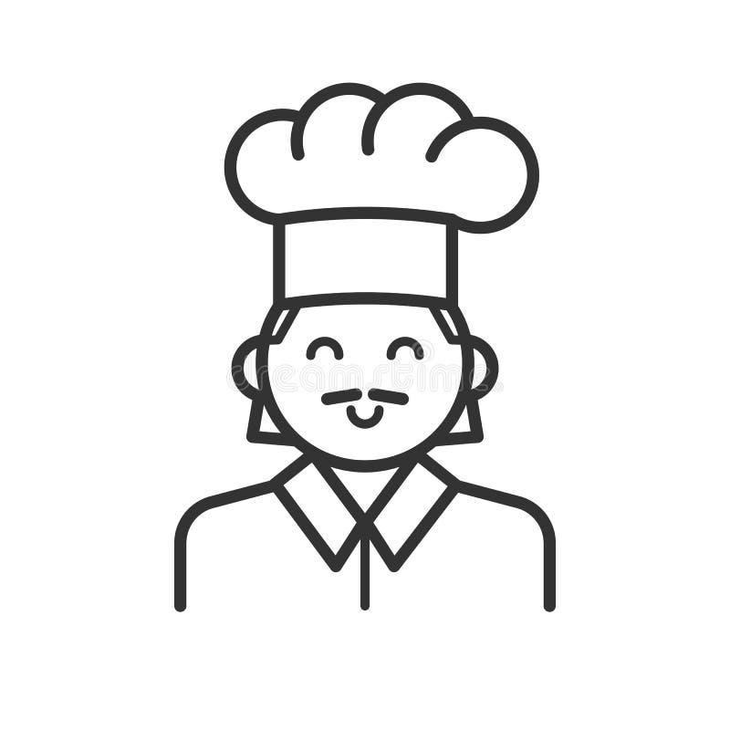 Czerń odizolowywał kontur ikonę kucharz na białym tle Kreskowa ikona portret szef kuchni ilustracja wektor