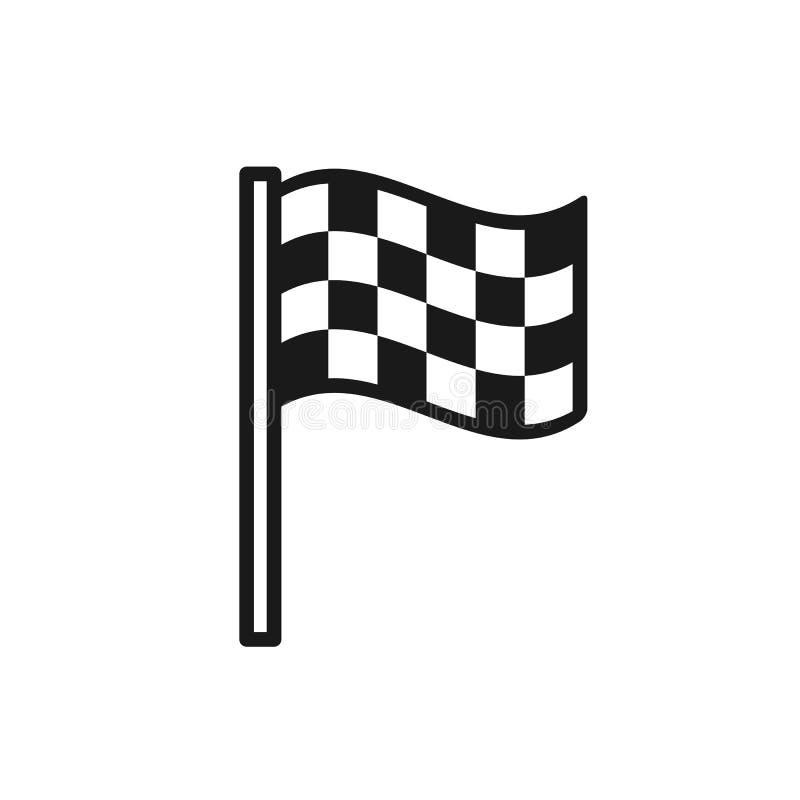 Czerń odizolowywał kontur ikonę machać w kratkę flagę na białym tle Kreskowa ikona koniec flaga ilustracji