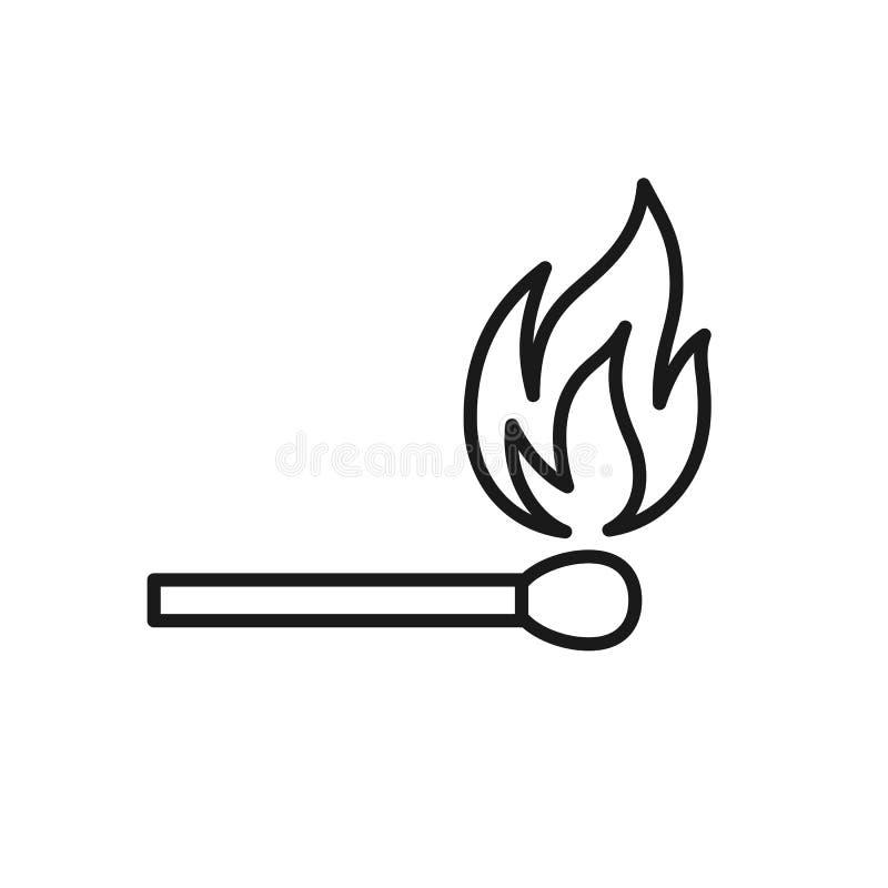 Czerń odizolowywał kontur ikonę matchstick na białym tle Kreskowa ikona zapałczany kij royalty ilustracja