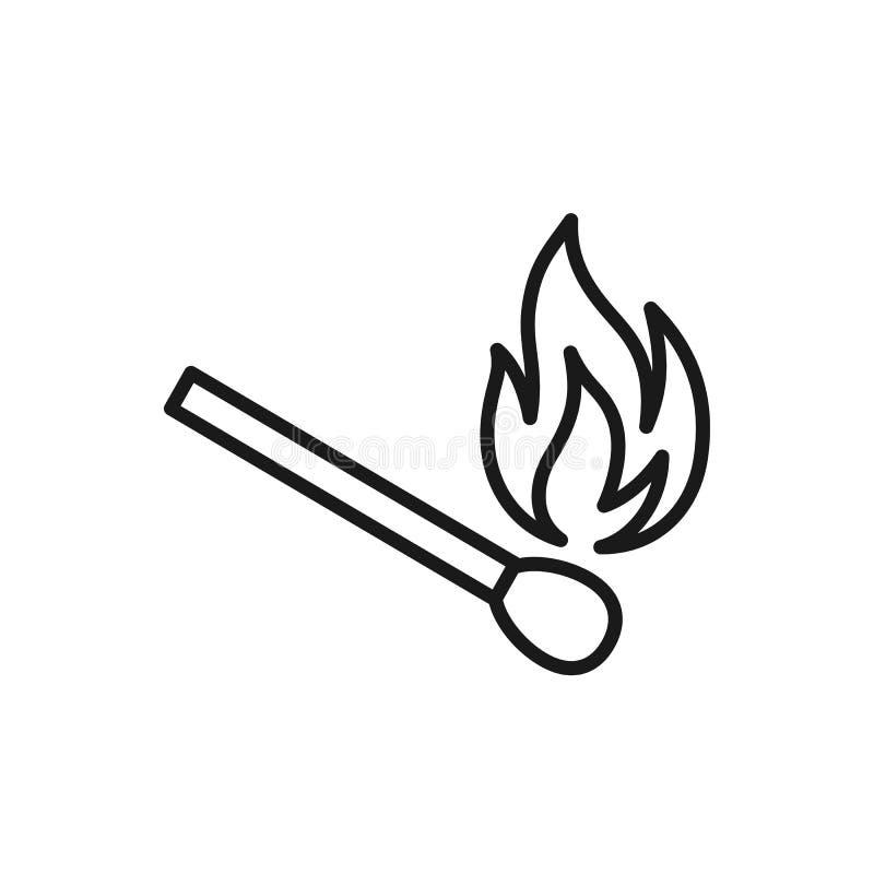 Czerń odizolowywał kontur ikonę matchstick na białym tle Kreskowa ikona zapałczany kij ilustracja wektor