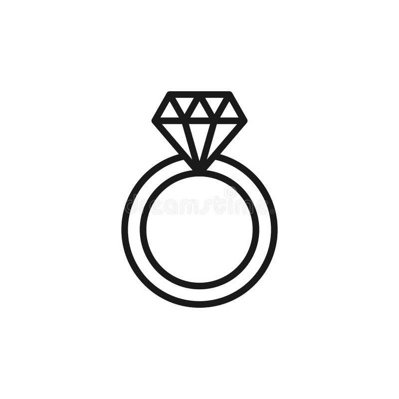 Czerń odizolowywał kontur ikonę obrączka ślubna z diamentem na białym tle Kreskowa ikona obrączka ślubna ilustracji