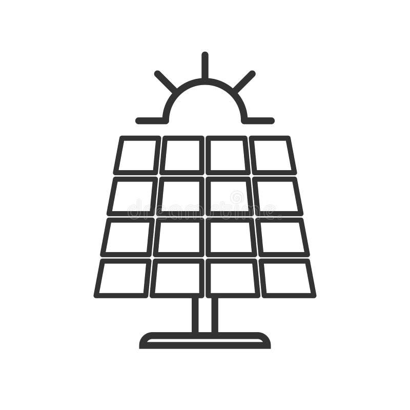 Czerń odizolowywał kontur ikonę panel słoneczny z słońcem na białym tle Kreskowa ikona słoneczna bateria royalty ilustracja