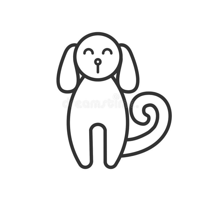 Czerń odizolowywał kontur ikonę pies na białym tle Kreskowa ikona pies, frontowy widok ilustracja wektor