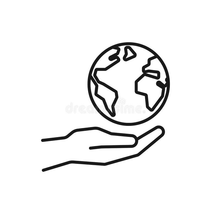 Czerń odizolowywał kontur ikonę planety ziemia w ręce na białym tle Kreskowa ikona planeta, kula ziemska i ręka, Symbol opieka, ilustracji