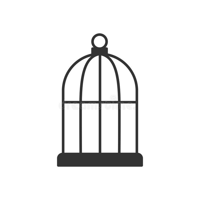 Czerń odizolowywał kontur ikonę ptasia klatka na białym tle Kreskowa ikona klatka royalty ilustracja