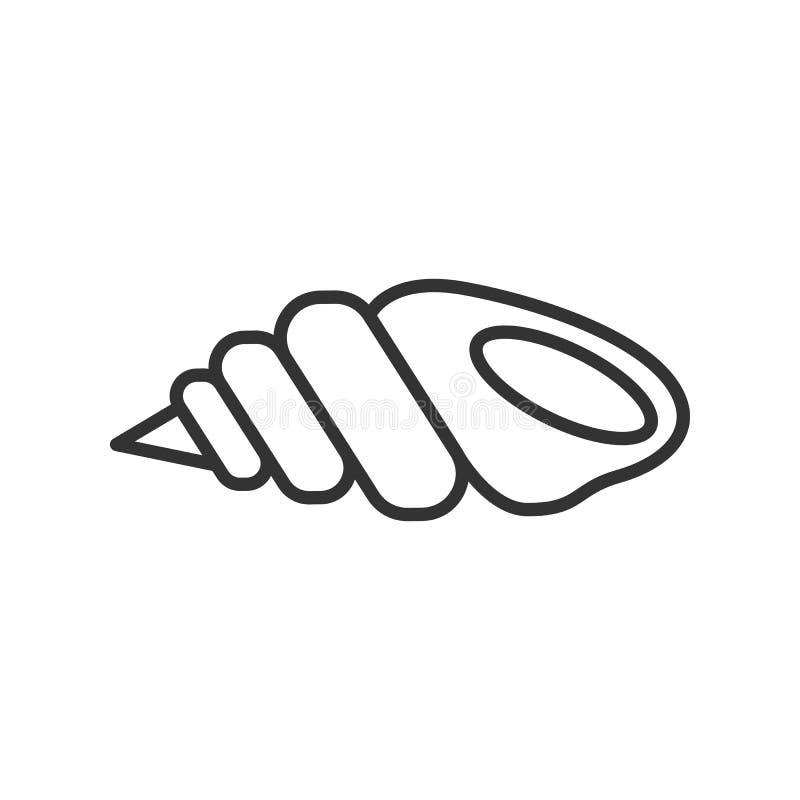 Czerń odizolowywał kontur ikonę seashell na białym tle Kreskowa ikona denna skorupa ilustracja wektor
