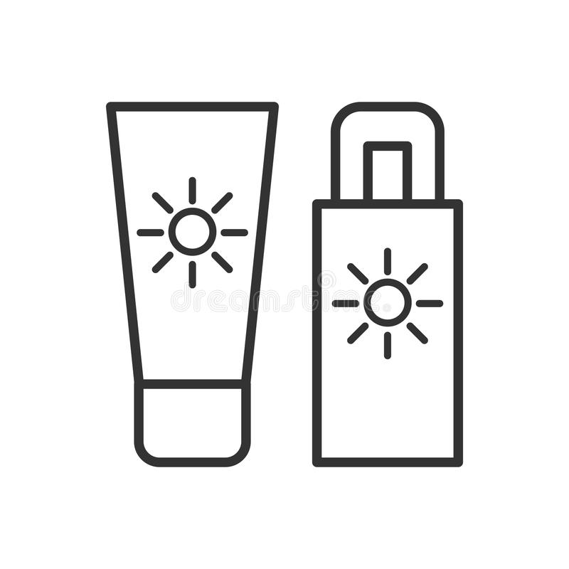 Czerń odizolowywał kontur ikonę sunscreen na białym tle Kreskowa ikona słońce blok ilustracja wektor
