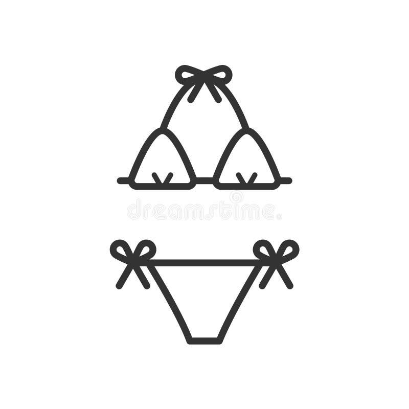 Czerń odizolowywał kontur ikonę swimsuit na białym tle Kreskowa ikona kostium kąpielowy royalty ilustracja
