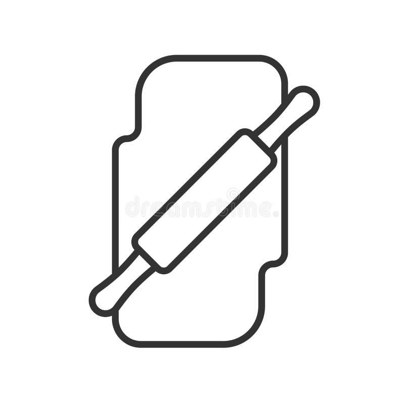 Czerń odizolowywał kontur ikonę toczna szpilka z ciastem na białym tle Kreskowa ikona wałkownica z ciastem ilustracja wektor