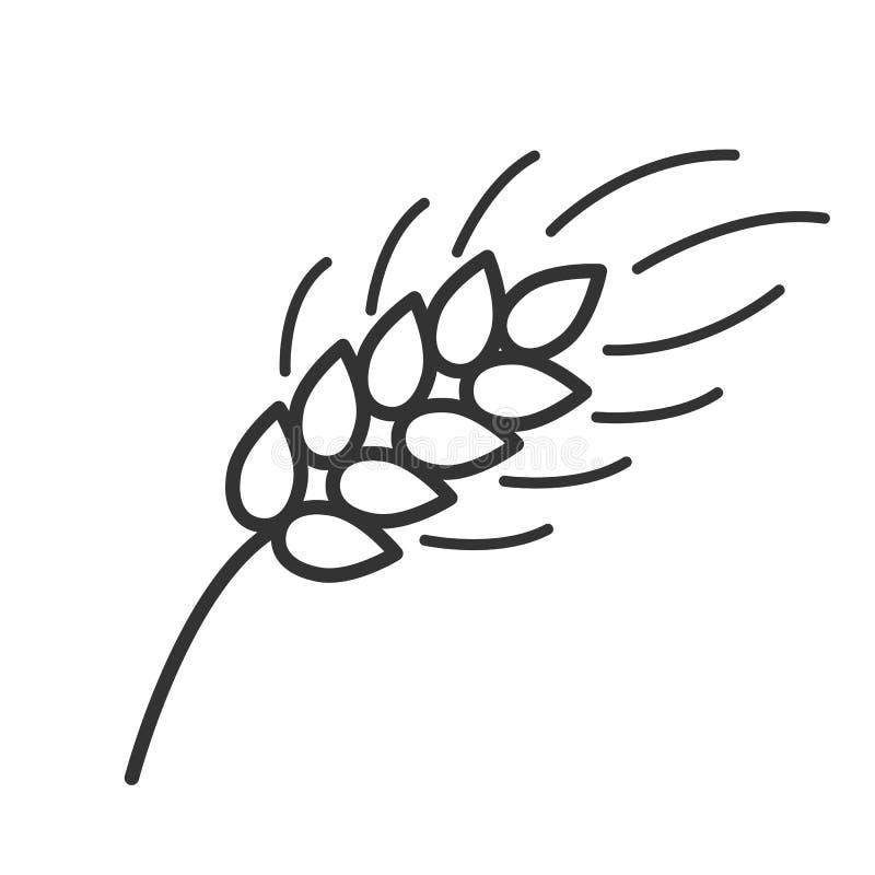 Czerń odizolowywał kontur ikonę ucho banatka na białym tle Kreskowa ikona ucho banatka ilustracja wektor