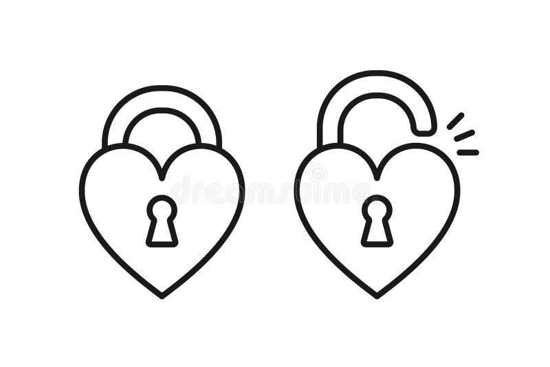 Czerń odizolowywał kontur ikonę zamknięty i otwierający kierowy kształta kędziorek na białym tle Set Kreskowa ikona kierowy kszta royalty ilustracja