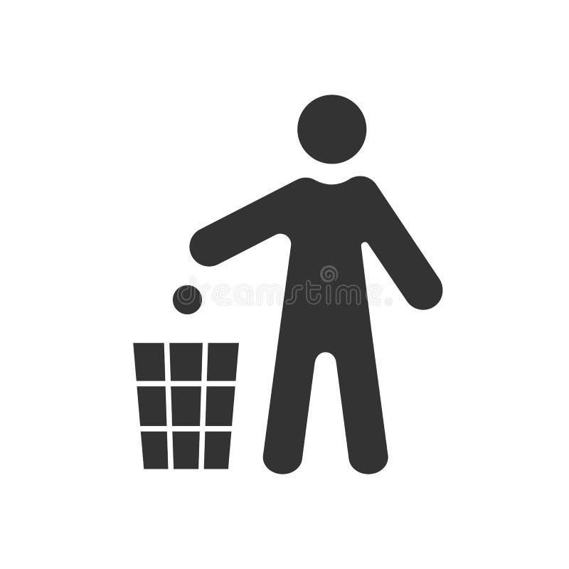 Czerń odizolowywająca ikona mężczyzna rzutu śmieci dustbinon bielu tło Sylwetka mężczyzna rzutu grat kosz royalty ilustracja