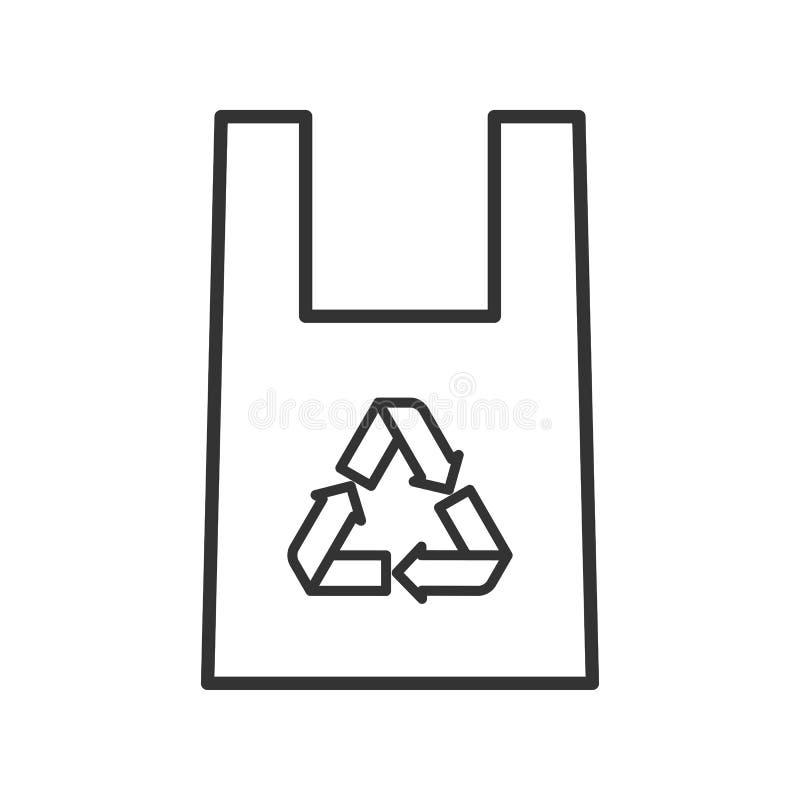 Czerń odizolowywająca kontur ikona plastikowa eco torba na białym tle Kreskowa ikona przetwarza torbę ilustracji