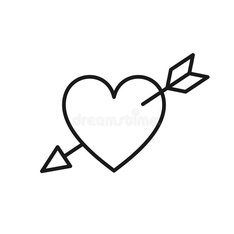 Czerń odizolowywająca kontur ikona przebijająca strzałą na białym tle serce Kreskowa ikona serce z strzałą Symbol miłość i passi ilustracji