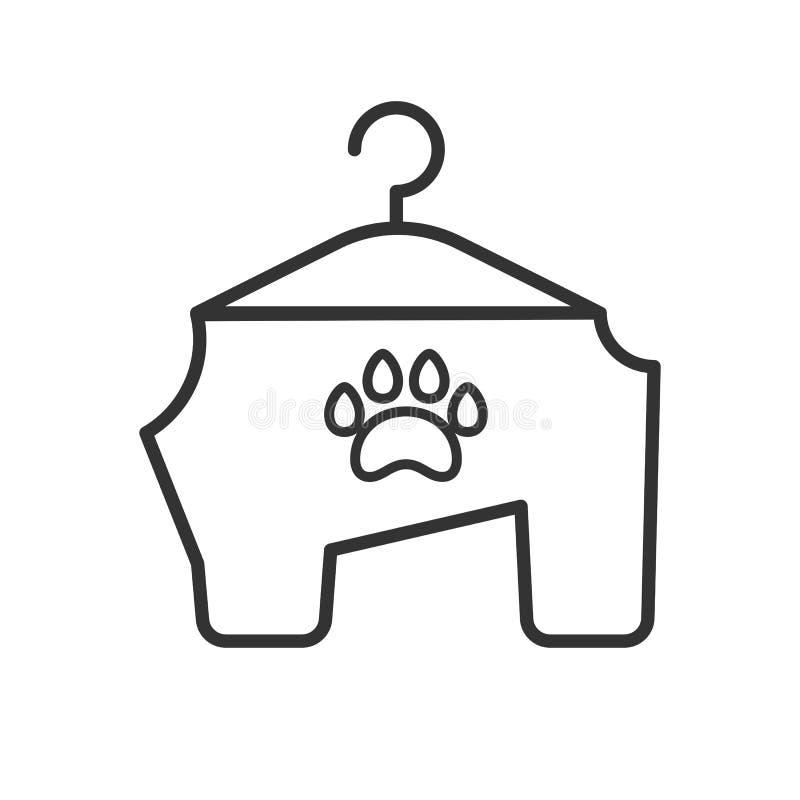 Czerń odizolowywająca kontur ikona zwierzęta odziewa na białym tle Kreskowa ikona odziewa dla psa ilustracji