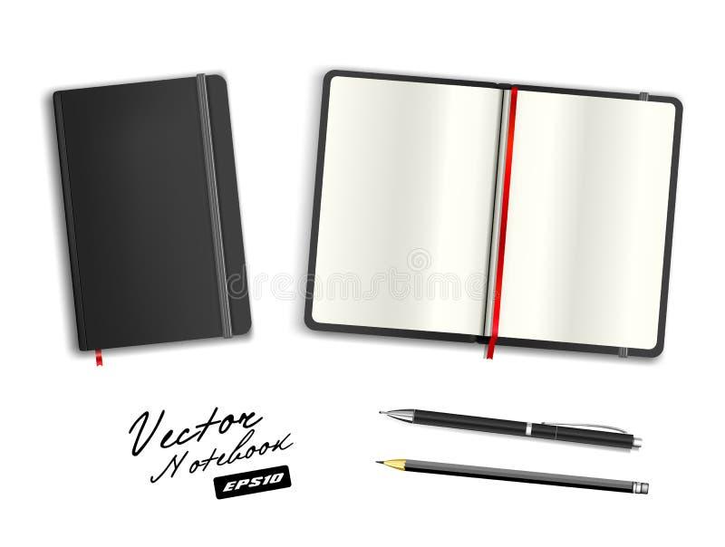 Czerń otwarty i zamknięty copybook szablon z elastycznym zespołem i bookmark obraz royalty free