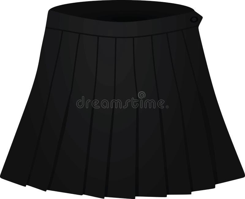 Czerń plisująca spódnica na białym tle royalty ilustracja
