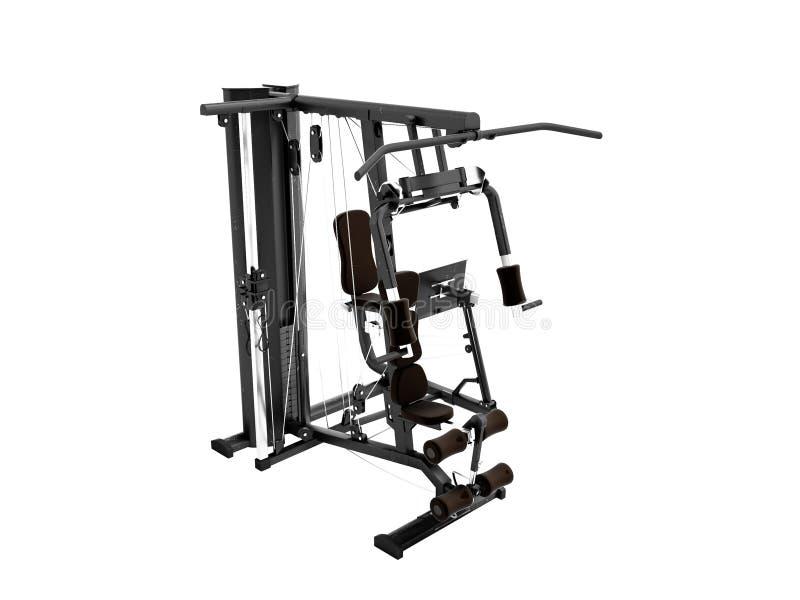 Czerń podwaja sporty metalu ciężaru stażowa maszyna dla trenować prawa strona widok 3d odpłaca się na białym tle żadny cień royalty ilustracja