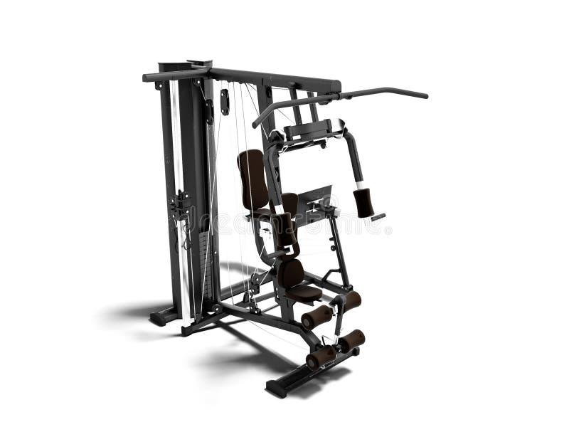 Czerń podwaja sporty metalu ciężaru stażowa maszyna dla trenować prawa strona widok 3d odpłaca się na białym tle z cieniem ilustracja wektor