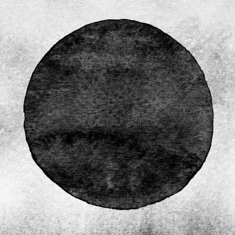 Czerń, szary akwarela okrąg Watercolour plama na białym tle royalty ilustracja