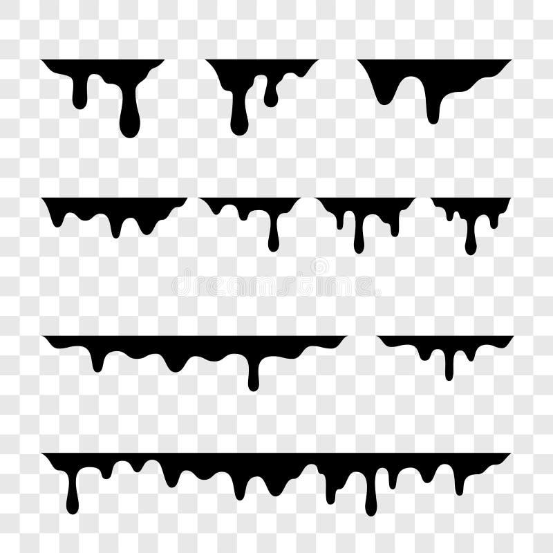 Czerń topi kapinosy lub ciekła farba opuszcza wektorowe ikony ilustracji