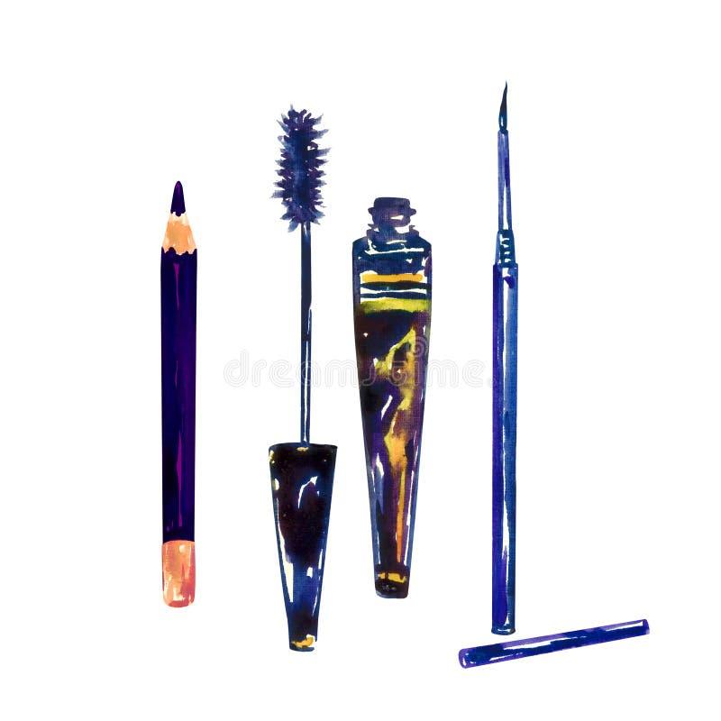 Czerń uzupełniał ołówek, tusz do rzęs otwartą tubki i ciecza liniowa odizolowywającego na bielu, royalty ilustracja