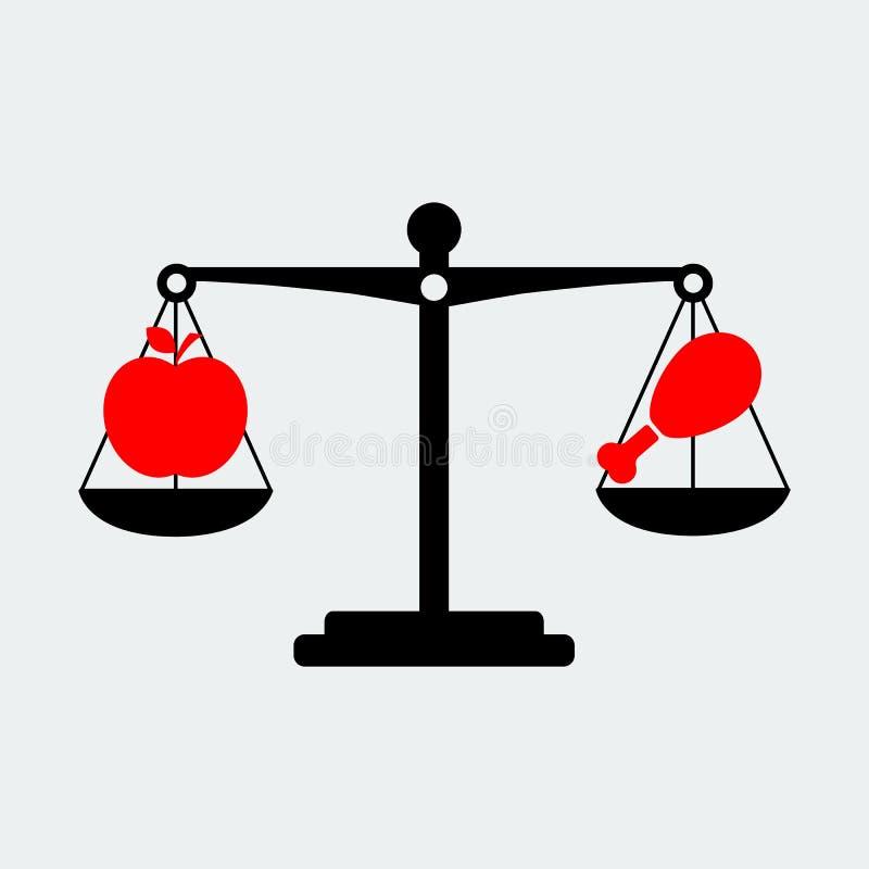 Czerń Waży Balansowego Apple I Mięsną ikonę również zwrócić corel ilustracji wektora ilustracji