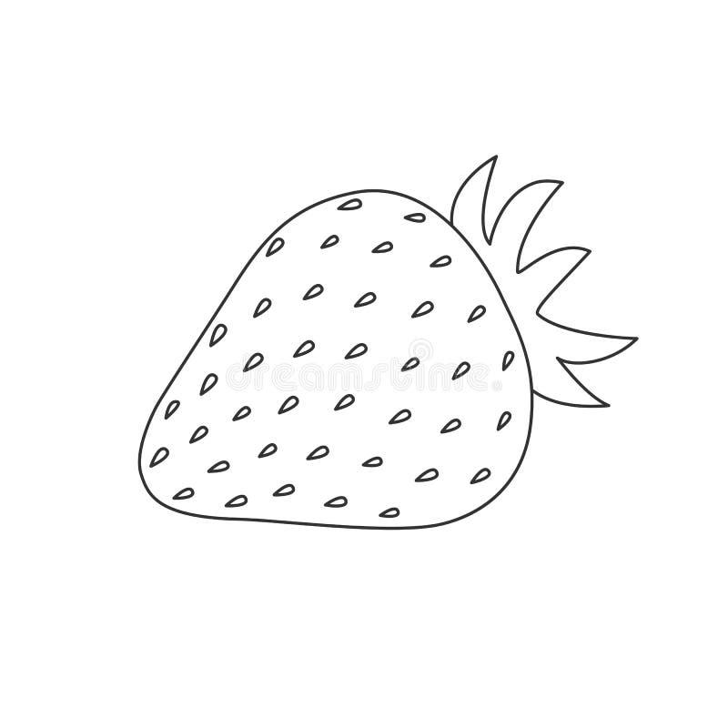 czerń zarysowywa truskawki z liściem na białym tle ilustracji