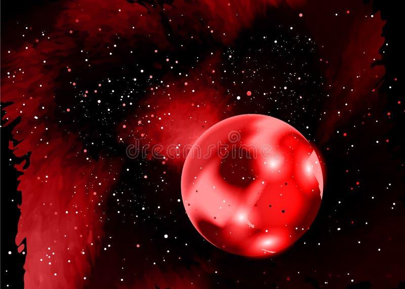 czerń zgłębia jeden planety czerwieni przestrzeni zmierzchu kolor żółty Gwiazdowy pole w przestrzeni i mgławicy Abstrakcjonistycz royalty ilustracja