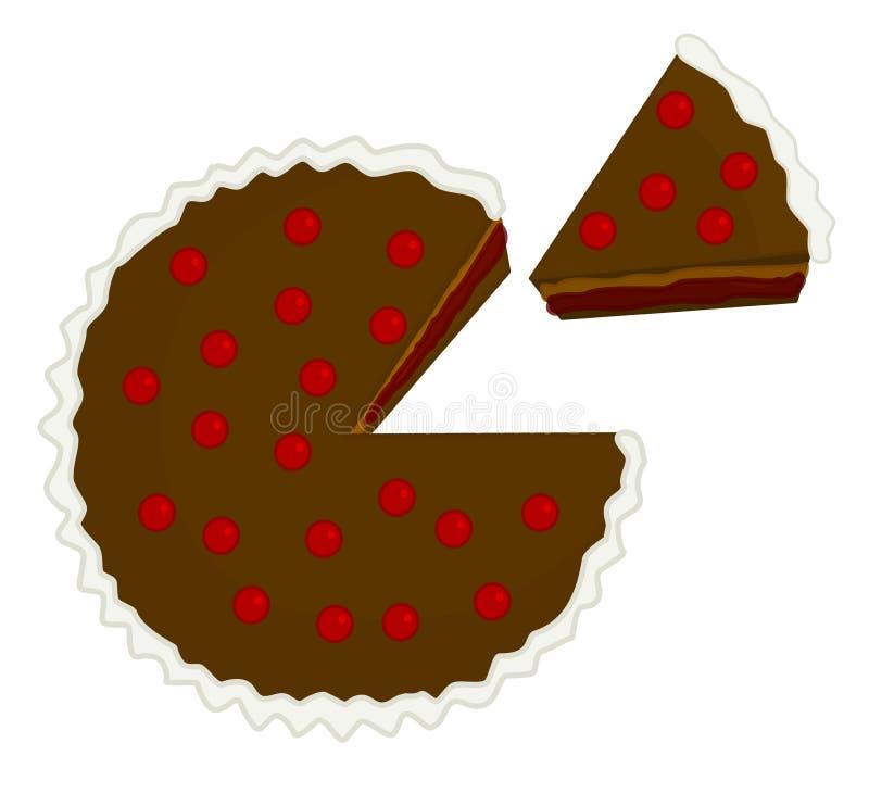 Czereśniowa czekoladowego torta ilustracja z kawałkiem ciącym out ilustracja wektor