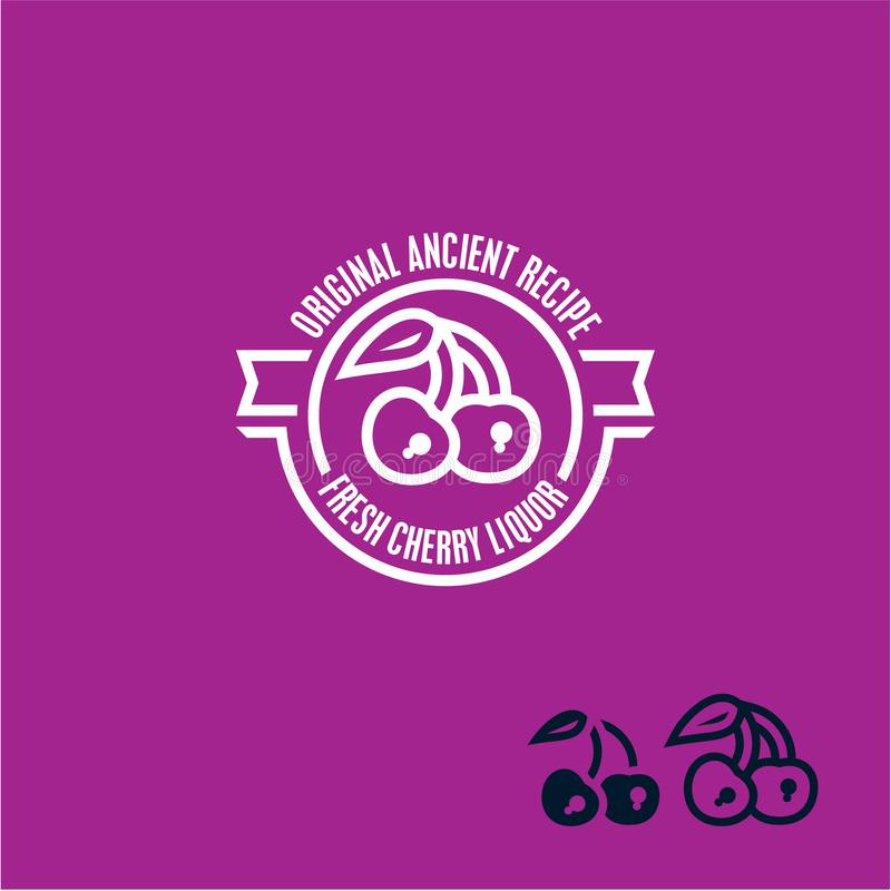 Czereśniowa ikona Czereśniowa etykietka ilustracji