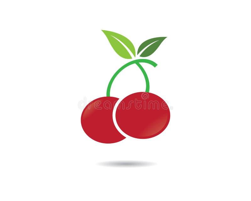 Czereśniowa logo szablonu wektoru ikona ilustracji