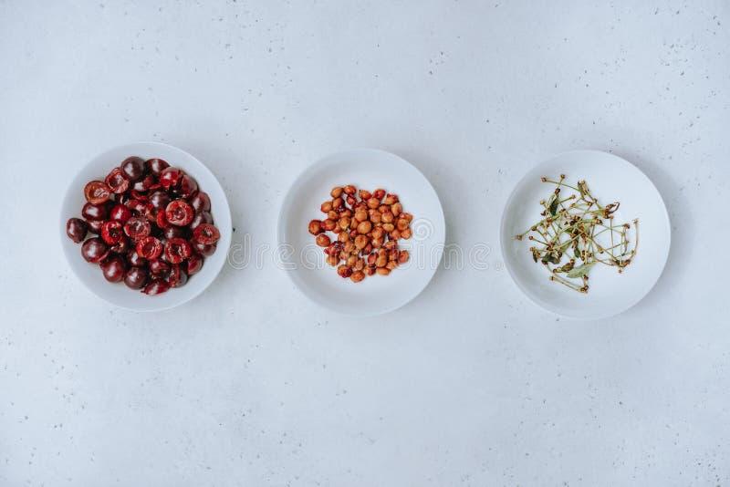Czereśniowe jagody, pypcie i gałązki, zdjęcie stock