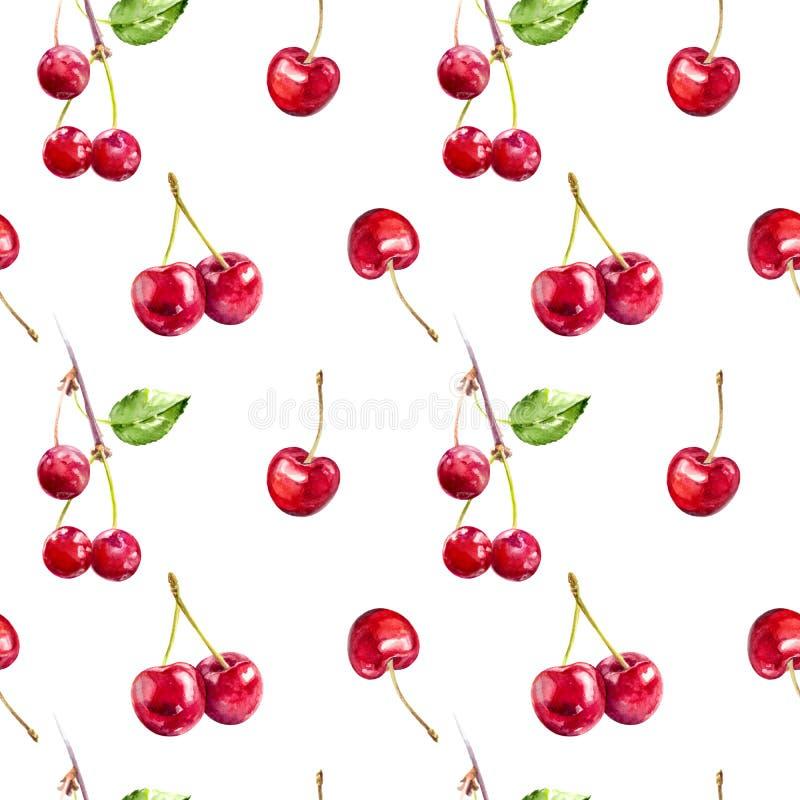 Czereśniowego jagody ręki remisu akwareli tkaniny bezszwowy wzór royalty ilustracja