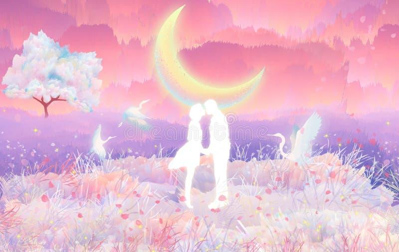 Czereśniowego okwitnięcia kochankowie całują w moonlightin blask księżyca który jest pięknym sceną, ilustracja wektor