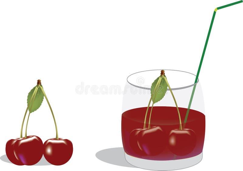 czereśniowej czerwieni sok w szkle royalty ilustracja